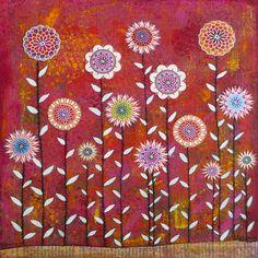 Red Flower Painting Art Print on Wood  - $35