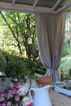 Outdoor Drop Cloth Panels - We love to be outdoors and to entertain outside and start enjoying the outoors as soon as we can be in the Spring and stay outside all th. Outdoor Drapes, Outdoor Rooms, Outdoor Gardens, Outdoor Living, Outdoor Decor, Outdoor Ideas, Patio Ideas, Outdoor Kitchens, Porch Ideas
