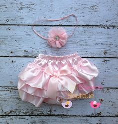 Light pink Satin Bloomer Set- Headband and Bloomers- Newborn Outfit - Baby Girl Outfit - Cake smash outfit-  Photo Prop