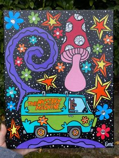 Scooby Doo Trippy Canvas Painting