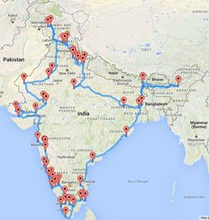 Designing the most beautiful and optimal Indian road trip Travel Route, Travel Maps, Travel And Tourism, Asia Travel, Places To Travel, World Map Travel, Travel Trip, Vacation Places, Vacations