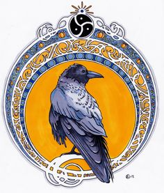 Art Nouveau Raven Tattoo. Wishes from customer: Raven, Triskelion, blue, orange. Extra perk: Halloween Touch.