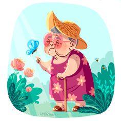 Paulina Helena Undziakiewicz on Behance Cartoon Grandma, Old Lady Cartoon, Children's Book Illustration, Character Illustration, Graphic Design Illustration, Character Sketches, Art Illustrations, Cartoon Drawings, Cute Drawings