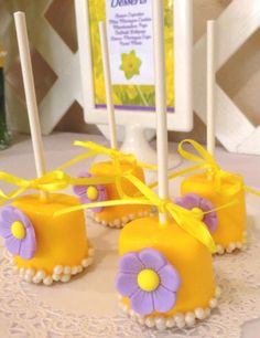 Yellow and Purple Flower Cake Pop