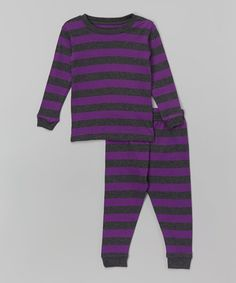 Look what I found on #zulily! Purple & Charcoal Stripe Pajama Set - Infant, Toddler & Boys #zulilyfinds