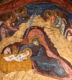 Fresco of the Nativity of Christ, Visoki Dečani Monastery century Sacred Art, 14th Century, Christian Art, Religious Art, Fresco, Nativity, Religion, Serbian, Murals