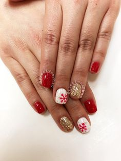Red white and gold nails. Snow flakes. Christmas nails. #PreciousPhan