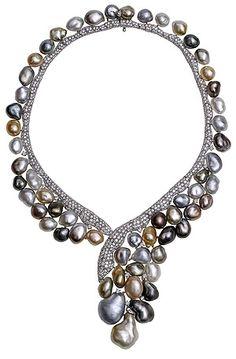 Keshi Necklace with diamonds and pearls, YOKO LONDON