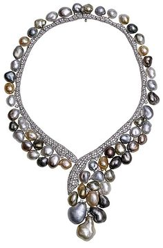 Keshi Necklace with diamonds and pearls, YOKO LONDON