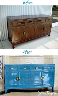 Lacquered Credenza before & After. Sherwin Williams loch blue. Credenza inspo.