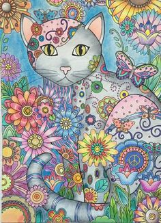 Creative Cats - Creative Haven Cat Coloring Page, Coloring Book Art, Colouring, Cat Embroidery, Illustrations, Illustration Art, Cat Cards, Cat Colors, Arte Pop