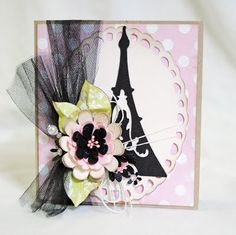 """MONDAY, AUGUST 8, 2011 Going Vintage     Polka dot paper is by Echo Park, Green designer paper is Pink Paislee. I used the Exclusive Cricut Circle Cartridge, French Manor to create the Eiffel Tower. It was cut at 2.5"""". The oval was cut using Elegant Edges at 4"""". The flowers were cut using the Flower Shop cartridge ranging from 1/4"""" to 1 1/4"""". Purchased stamens off of Etsy and added those to the center."""
