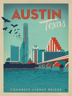 Austin, TX Congress Ave. Bridge - This stylish print of the Austin, TX skyline features the famous bat swarms that swoop out from under the Congress Avenue Bridge each evening. The quirky charm of this colorful design is sure to make it a conversation piece once it is hung on any home or office wall!