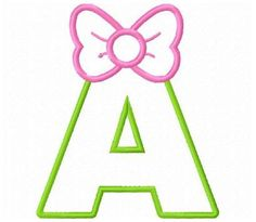 set of 26 bow applique font letters machine embroidery designs
