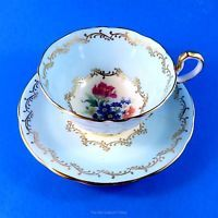 Light Blue Border with Floral Center Aynsley Tea Cup and Saucer Set