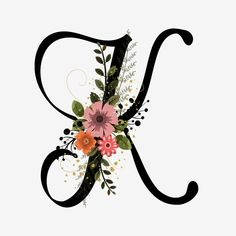 Alphabet Letter K With Flowers And Leaves Monogram Wallpaper, Alphabet Wallpaper, Name Wallpaper, Flower Phone Wallpaper, Letter K Design, Alphabet Letters Design, Monogram Letters, Alphabet Names, Flower Alphabet