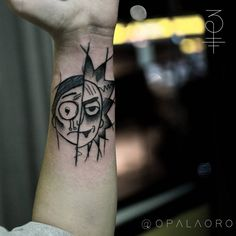 Rick and Morty tattoo by Opalaoro #Opalaoro #rickandmortytattoos #rickandmorty #blackwork #graphic #RickSanchez #surreal #portrait #scifi #adultswim #cartoon #illustrative #linework
