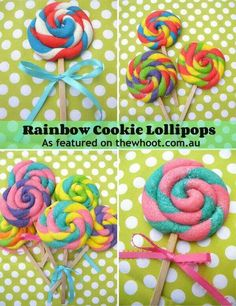 Rainbow cookie pops