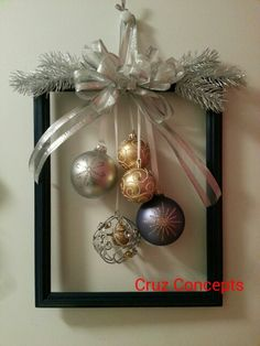 60 DIY Picture Frame Christmas Wreath Ideas that totally fits your Budget - Hike. 60 DIY Picture Frame Christmas Wreath Ideas that totally fits your Budget - Hike n Dip Christmas Wreaths For Front Door, Christmas Frames, Noel Christmas, Simple Christmas, Christmas Ornaments, Door Wreaths, Handmade Christmas, Holiday Wreaths, Elegant Christmas Decor