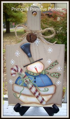 Candy Cane Snowman Oak Wood Cutting Board Holiday Kitchen Decor Handpainted- Perhaps Heidi's new kitchen would like one of these for winter? Christmas Wood, Primitive Christmas, Christmas Signs, Christmas Snowman, Christmas Projects, All Things Christmas, Holiday Crafts, Christmas Holidays, Christmas Decorations