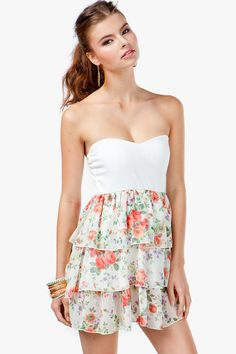 A'GACI Floral Tier Bow Back Dress - DRESSES