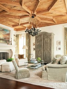 Love this wood ceiling design and colors