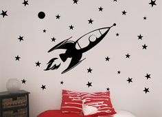 Rocket Vinyl Wall Decal Outer Space Galaxy Stars Nursery Childs Room Play Room Kids Room
