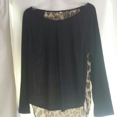 Leopard long sleeves tee top Leopard chiffon back light and Flowy Size L long sleeves Material 100% polyester front in black 100% chiffon back leopard print NWOT 10% bundle discount plus give away item.  More pictures in my closet of this shirt MiraBelle boutique Tops Tees - Long Sleeve
