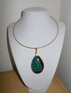 Green and Brown Banded agate slice choker by CreationsbyMaryEllen, $19.97