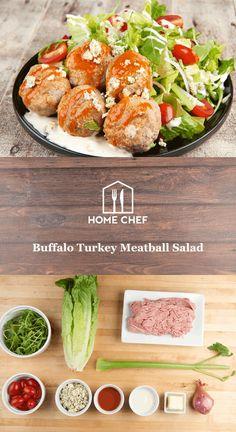 Buffalo Turkey Meatball Salad with celery and blue cheese