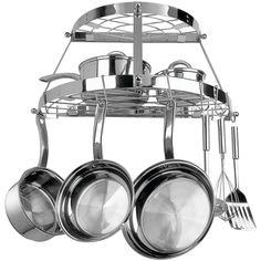 Steel Pan Pot Kitchen Storage Rack Holder Hanging Stainless Oval Cookware New #RANGEKLEEN