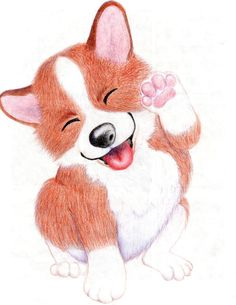 Happy Corgi Illustration Digital Print or Original Cartoon Drawings, Cute Drawings, Corgi Drawing, Wolf Artwork, Corgi Pictures, Cute Corgi, Cute Cartoon Animals, Dog Illustration, Cartoon Styles
