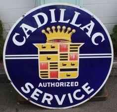 Vintage Cadillac Porcelain Sign  (Authorized Service)