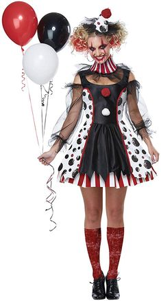 Sexy Halloween Costumes for Women, 2019 Adult Halloween Costume Ideas Clown Costume Women, Gruseliger Clown, Horror Halloween Costumes, Clown Halloween Costumes, Looks Halloween, Creepy Clown, Adult Halloween, Adult Costumes, Costumes For Women