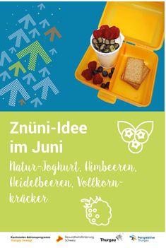 #Znüni #gesunde Ernährung Wir zeigen dir, was du deinem Kind im Juni in die Znünibox packen kannst. Schau dir die Video-Anleitung an oder lies unsere Schritt-für-Schritt-Anleitung. Du benötigst folgende Materialien und Zutaten: Natur-Joghurt, Heidelbeeren, Himbeeren oder Erdbeeren, Vollkornkräcker, Messer, Schneidebrett. Schritte: 1. Beeren waschen und halbieren 2.Beeren ins Natur-Joghurt geben 3. Vollkornkräcker bereit legen 4. Znünibox füllen 5. Fertig ist das Znüni im Juni. Juni, Blog, Yogurt, Kid Cooking, Raspberries, Healthy Food, Healthy Food Recipes, Health