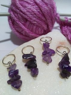 Stitch Markers for knitting and crochet genuine amethyst gemstone crystals £4.50