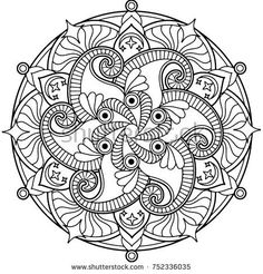 Round Mandala Design for a Coloring Book or a Decorative Element - buy this stock vector on Shutterstock & find other images.