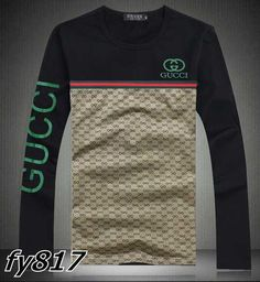 Gucci long-sleeve T-shirts : cheap shoes,clothing,belts,sunglasses,hats Gucci T Shirt Mens, Gucci Men, Mens Fashion Wear, Camisa Polo, Textiles, Designer Clothes For Men, Men Style Tips, Casual T Shirts, Stylish Men