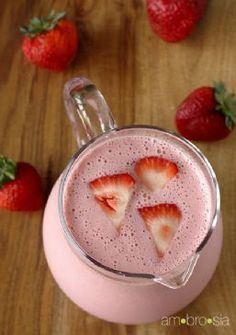 Strawberry Lassi - Just strawberries, honey, yogurt & crushed ice. Mango lassi is so good too.ok any kind of lassi Smoothie Drinks, Healthy Smoothies, Healthy Drinks, Smoothie Recipes, Healthy Snacks, Juice Smoothie, Fruit Juice, Fruit Smoothies, Fresh Fruit