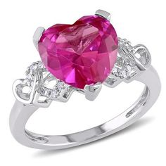 4 1/5 CT Created Pink Sapphire and Diamond Heart Ring in Silver (beautiful but need a bigger size and white or yellow gold better, Lp)