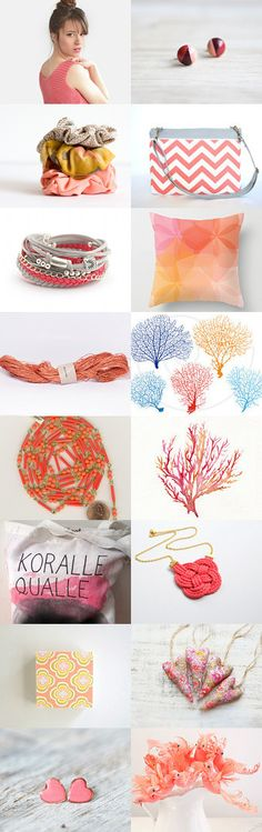 shades of coral by Verena Lang on Etsy including my tote bag #walmat #treasury #etsy -Pinned+with+TreasuryPin.com