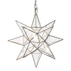 """With more than a twinkle, the Worlds Away Star chandelier lights up modern living rooms and dining spaces. A three-dimensional shape and clear glass panes form this shining light fixture. The metallic frame lends a hint of industrial inspiration. Small: 12"""" Diameter. Medium: 15"""" Diameter. Large: 20"""" Diameter. Available in Small, Medium, and Large. UL Approved for 60 watt bulb. Includes cord and canopy with 3'H chain."""