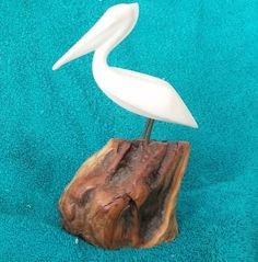 Pelican Sculpture  John Perry Burl Wood Single White Bird Nautical Beach Decor