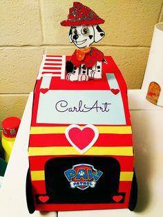 Marshal - Paw Patrol - Valentine's Day Box Valentine Boxes For School, Valentine Baskets, Valentines For Boys, Valentines Day Party, Valentine Crafts, Holiday Crafts For Kids, Saint Valentine, Holidays With Kids, Paw Patrol