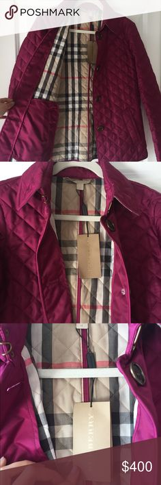 Burberry Brit Authentic Jacket — Never Worn! Beautiful quilted lightweight jacket.  Purchased in Italy and carried it home! Paid tax and duty due to travel plans.  No trades/bundles on this item, please. Beautiful berry color.  Firm price Burberry Jackets & Coats