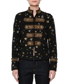 W0CR3 Valentino Star-Embellished Military Jacket, Black