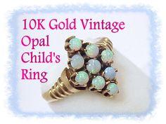 10K Gold Australian Fiery Black Opal Cluster by FindMeTreasures