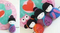 Crochet kokeshi dolls