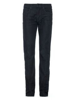 Part of Joe's Fahrenheit Collection, the Slim in Cullen features advanced technology that traps in air and keeps moisture out for ultimate insulation. In addition to providing exceptional warmth in a lightweight fabric, this dark blue jean has a black tint wash, dark thread, and narrow leg for a sleek look.
