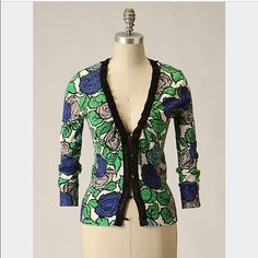 Anthropologie Laced Roses Cardi by tabitha Great condition, size medium but fits like small so listing this way.  Looks so cute with dresses and jeans! Anthropologie Sweaters Cardigans